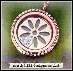 Large rose gold crystal locket with rose gold flower screen and heart crystal charm South Hill Designs, Washer Necklace, Pendant Necklace, Design Your Own Jewelry, Just Go, Rose Gold, Crystals, My Favorite Things, Beautiful