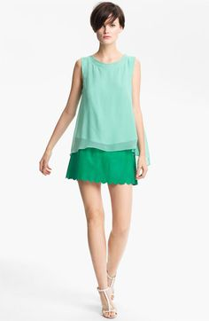 Green with Envy: Tracy Reese Silk Tank & Leather Miniskirt