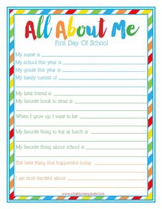 """{FREE PRINTABLE} """"All About Me"""" Back to School Idea for Kids - Print out this survey for Kindergarten / elementary school students! I think it's lovely for first grade and second grade to take as well. A beginning of year interview so parents can capture this moment in time. Such a cute way to start the school year!"""