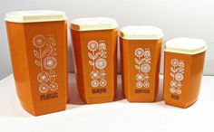 vintage canister set ORANGE with retro flowers