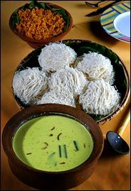 Popular dish in Sri Lanka  - string hoppers (stringy rice noodle textured flour mix is laid onto round shaped molds and steamed )  Kiri Hodi Curry ( rich coconut milk based curry infused with turmeric,fenugreek seeds  , curry leaves & rampe leaves)  Pol Sambol ( grated coconut mixed with spicy chilli flakes, red chilli powder, Maldives fish , lime juice & salt.