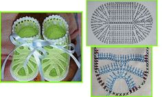 Crocheted baby sandals photo and graph