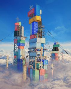 Mike Winkelmann also known as Beeple is digital artist, graphic designer, and Continue Reading and for more digital art → View Website Cgi, Fantasy Landscape, Fantasy Art, Cyberpunk, Container Buildings, Technology Wallpaper, Environment Concept Art, New Wallpaper, Cinema 4d