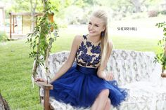 2013 Sherri Hill 21219 Navy Nude Homecoming Dresses