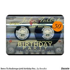 Shop Retro Audiotape birthday Party Invitation created by ReneBui. Personalize it with photos & text or purchase as is! Birthday For Him, 60th Birthday, Birthday Ideas, Vintage Invitations, Custom Invitations, Invites, A Small Orange, Rock Around The Clock, 50th Birthday Party Invitations
