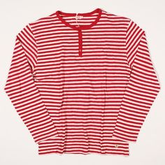 Armor Lux Henley Heritage Linen Blend Stripe Red/Natural : SUNSETSTAR
