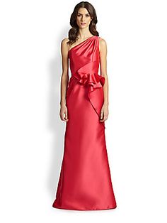 Carmen+Marc+Valvo One-Shoulder+Twill+Peplum+Gown