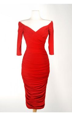 $140  Laura Byrnes- Monica Dress in Red Matte Jersey Knit | Pinup Girl Clothing