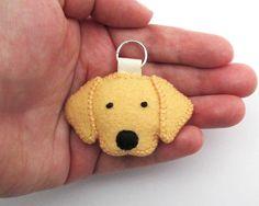 Felt Golden Retriever Mini Keychain / Golden by HeatherAnnRodak