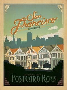 Postcard Row Poster | San Francisco Posters, San Francisco Poster, San Francisco Prints