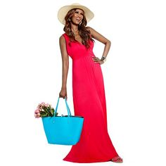 IMAN Global Chic Maxi Dress with FREE Resort Sun Hat