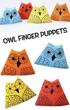 Owl Finger Puppets  This craft is very easy for children to make on their own. The owl requires some origami folding and the owl's features are decorated with a black ink pen. We made several owls in different colours and arranged them on a branch to use as a pretty decoration for the whole autumn season. However, this owl also makes a great finger puppet. #kidscrafts #owls