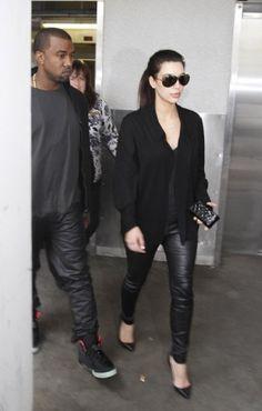 Kim Kardashian wearing Christian Louboutin Pigalle Spikes 120 Studded Leather Pumps.