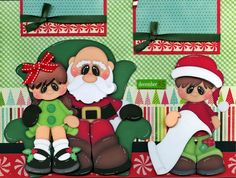 VISITING SANTA ~ lap CHRISTMAS 2 premade scrapbook pages paper piecing CHERRY