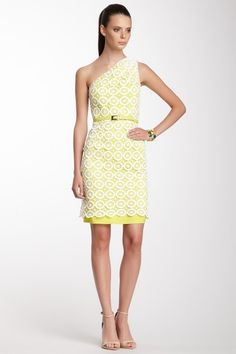 Vince Camuto Asymmetrical Shoulder Lace Dress by White Hot Summer on @HauteLook