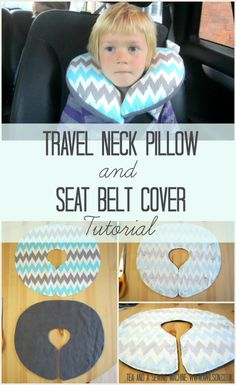 Easy to make child's travel pillow and seat belt cover tutorial. Very simple and doable in an evening!