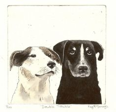 Original Dogs Etching - Double Trouble - by Kay McDonagh