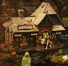 *Want* Halloween Department 56 Village Train - Rickety Railroad Train Station Halloween Town, Dickens Village, Ceramic Houses, Department 56, Train Station, Halloween Decorations, Black And White, House Styles, Trains