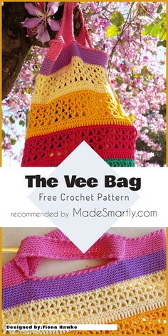 The Vee Bag - Free Crochet Pattern #crochetpattern #crochetbag #freecrochetpatterns #yarns #crochetaddict
