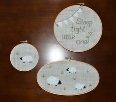 Nursery Hoops, Sheep Nursery Decor, Embroidered Hoops, Hoop Art, Nursery Hoops, Sleep Tight Little One, Neutral Nursery Decor by CubbyCreations on Etsy https://www.etsy.com/listing/221124718/nursery-hoops-sheep-nursery-decor
