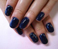DIY nail art design for short nails, simple, one color, navy blue with gold dots #nailart #shortnail