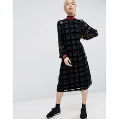 3c32b34d8be ASOS WHITE Burnout Check Organza Midi Dress With Rib Detail (1.650 ARS) ❤  liked