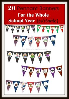 Decorate your classroom with these 20 pennant banners. The best part is that this packet is editable so you can add your own words to the banner, meaning that you can customize it to say whatever you want!    Simply click on each pennant flag with a text box and type your own message. Print on card stock, laminate, cut out, and hang around your classroom.   Note: The art is locked down and cannot be changed.