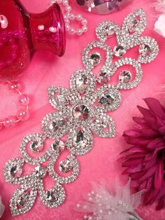 XR144 Silver Crystal Rhinestone Applique by gloryshouse on Etsy, $19.99