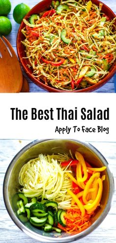 This Thai Salad is absolutely sensational and one of my most tried and tested favourites. So simple to prepare it belies it's big flavour punch. Full of fabulous Asian flavours like lime, coriander, mint and peanuts, pimp it up or down to suit your chilli desires. Healthy too! #thaisalad #thai #salad #healthysalad #thaisaladdressing #healthy