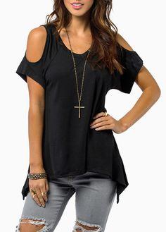 Causal Black Cutout Shoulder Solid Black T Shirt