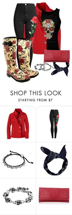 """""""Rain and Roses (and Skulls)"""" by laine-feen ❤ liked on Polyvore featuring prAna, Boohoo and Loungefly"""