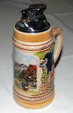 """Vintage """"Original Gerzit"""" Beer Stein Cigarette Lighter"""