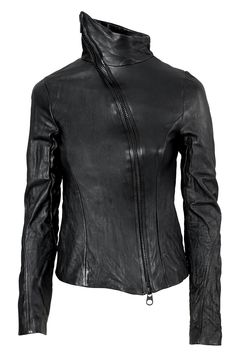 OVATE | Black washed lamb leather fitted jacket. Asymmetrical black oxide metal two-way zipper. Fully lined.