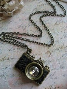 Antique camera charm pendant necklace. $28.00, via Etsy.