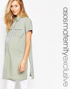 Image 1 of ASOS Maternity Tunic Shirt With Stepped Hem