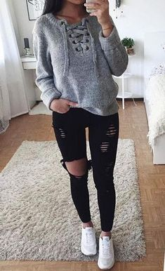 Cute Winter Outfit Ideas for School for Teenagers Casual Comfy Lazy Day Hipster with Jeans with Sweater -  ideas casuales del equipo del invierno para las mujeres - www.GlamantiBeauty.com
