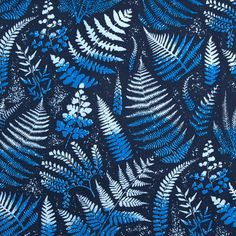 Inspired by the early nineteenth century fern work craft movement, this delicate Fern - Indigo print features a camouflage of native ferns. This durable fabric Indigo Prints, Repeating Patterns, Ferns, Fabric Design, Printing On Fabric, Oxford, Design Inspiration, Textiles, Canvas