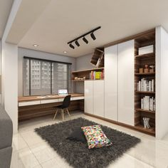 Study with full height cupboards and window table