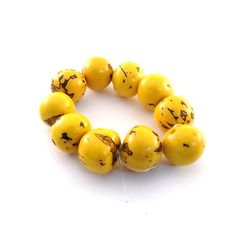 Bead Large Round Yellow Tagua Nut 20mm by CinLynnBeads on Etsy, $1.50