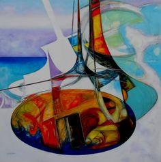 Artista Marino Lecchi - titolo: Visioni, anno 2008, cm. 80x80, t. mista su tela.