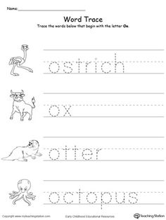 Early Childhood Alphabet Worksheets Trace Words That Begin With Letter Sound: O. Printable Alphabet Worksheets, Letter Worksheets For Preschool, Kindergarten Worksheets, Tracing Worksheets, All About Me Preschool, Preschool Learning, Teaching Writing, Writing Practice, Letter O Crafts