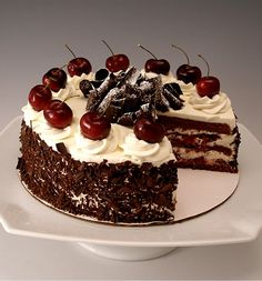 Black Forest Cherry Cake (Schwarzwalder Kirschtorte) Tutorial http://baking911.com/cakes/chocolate/black-forest-cherry-cake