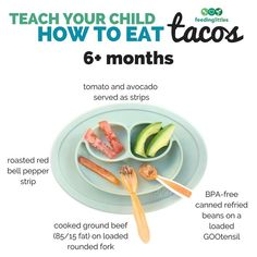 Here's a great step by step strategy on how to teach your child to eat a taco starting with baby at 6 months starting solids doing baby led weaning. Check out the post for the next step as baby gets older. Toddler Finger Foods, Toddler Meals, Kids Meals, Toddler Food, Baby Meals, Baby Finger, Baby Led Weaning First Foods, Weaning Toddler, Weaning Foods