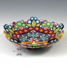Polymer Clay Display Bowl Blue Orange Green by KateTractonDesigns