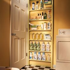 The space behind a door is a storage spot that's often overlooked. Build a set of shallow shelves and mount it to the wall behind your laundry room door.