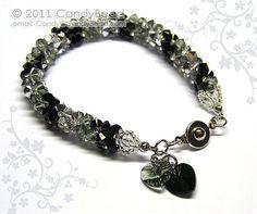 Swarovski bracelet Luxurious Silver Black Swarovski by candybead, $20.00
