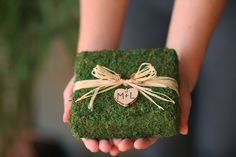 Personalized wedding ring pillow/ moss square pillow