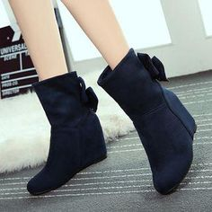 #YesStyle - #YOUIN Faux-Suede Bow-Accent Ankle Boots - AdoreWe.com