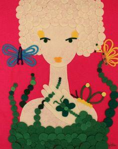 Handmade Felt Portrait Woman Butterflies Animals Hot Pink Forest Green Feminine Classy Elegant Exotic Artwork Wall Hanging