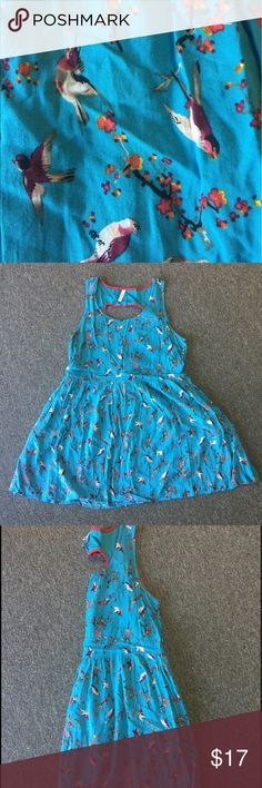 "BIRD BRAIN DRESS | SIZE XXL Blue print dress features darling little birds all over, with a perfect heart cutout detail in the back trimmed in red. Even better than the precious print? IT HAS POCKETS! Waist measures 20 1/2"" across when laid flat, and length is 34"" from shoulder to bottom hem. It has a tie in the back to cinch the waist. This dress was only worn a few times and is in perfect condition. Xhilaration Dresses Midi"